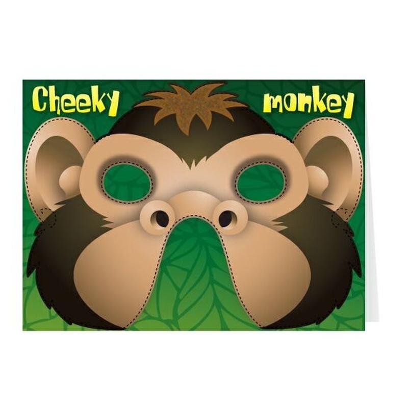 Felicitare cu masca Cheeky Monkey
