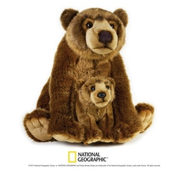 Urs grizzly cu pui 31 cm-Jucarie din plus National Geographic