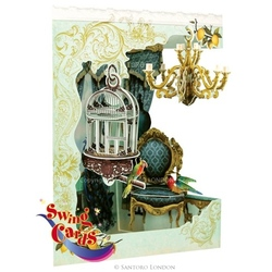 Candelabru si Pasare in colivie - Felicitare 3D Swing Cards