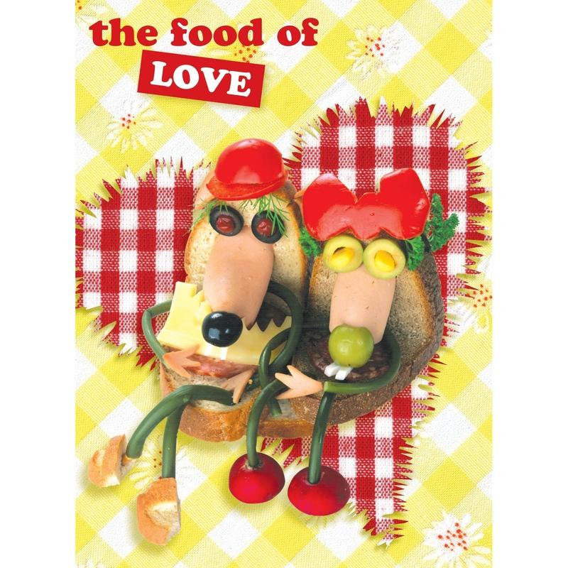 Love Felicitare amuzanta gastronomica-Mancarea dragostei . O felicitare draguta pentru familia ta.