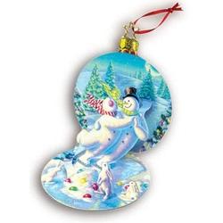 Felicitare 3D Snowman's Waltz. Un ornament de pus in bradul de Craciun.