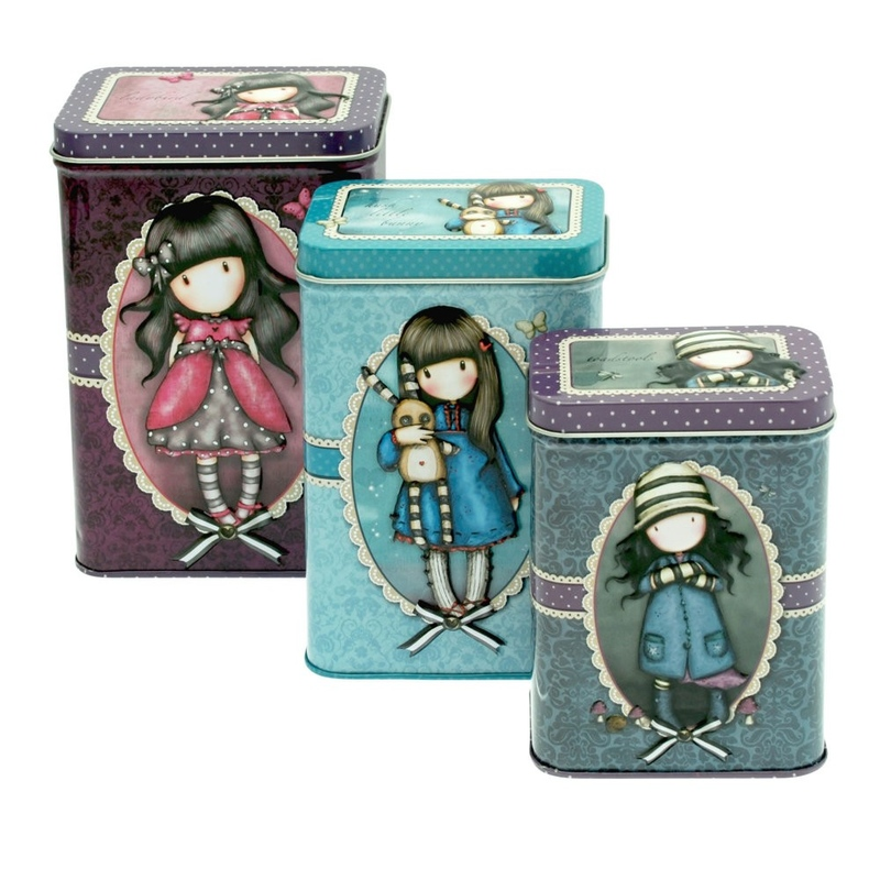 Set 3 cutii metalice Gorjuss Ladybird, Hush Little Bunny, Toadstools.