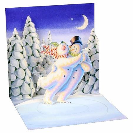 Minifelicitare 3D Craciun - Skating snowman