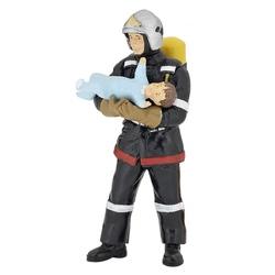 Pompier cu copil in brate - Figurina Papo