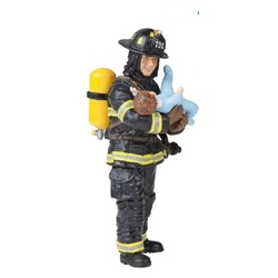 Pompier US cu copil in brate - Figurina Papo