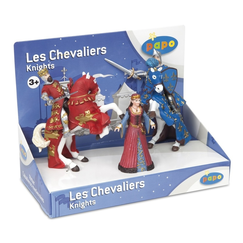 Set figurine Papo-Cutie cavaleri-5 fig.(regina medievala,rege Richard&cal,print Filip&cal)