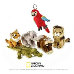 Jucarie din plus National Geographic Port chei (papagal-tigru-elefant-croco-lenes-leu)