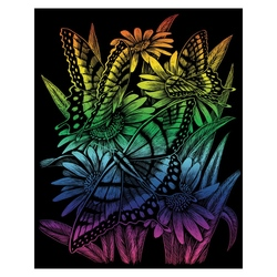 Gravura curcubeu-Fluturi si margarete