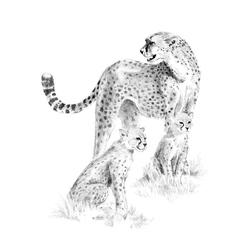 Crochiu incepatori-Cheetah cu pui 22x29 cm