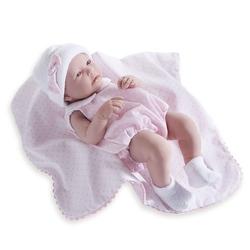 Jucarie Bebe fetita 43 cm costum vara roz si paturica