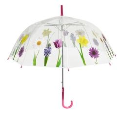 Umbrela transparenta automata baston (2 modele flori) - Perletti