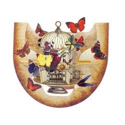 Felicitare 3D PopnRock - Cusca si fluturi
