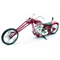 Motocicleta diecast tip Chopper, rosu