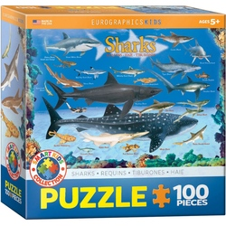 Puzzle 100 piese Sharks