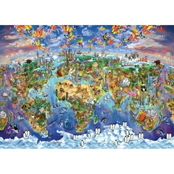 Puzzle 2000 piese World Wonders Illustrated Map - MARIA RABINKY