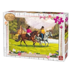 Puzzle 100 piese Gallop In The Meadow (buc)