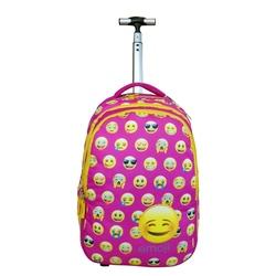 Ghiozdan cu troler Emoji roz
