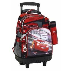 Troler compact cu ghiozdan integrat+penar Cars 3 45 cm