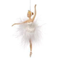 Balerina decorativa costum din pene albe