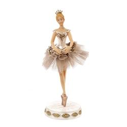 Statueta balerina costum din tiul crem cu paiete
