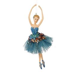 Balerina decorativa costum paun turcoise din tiul