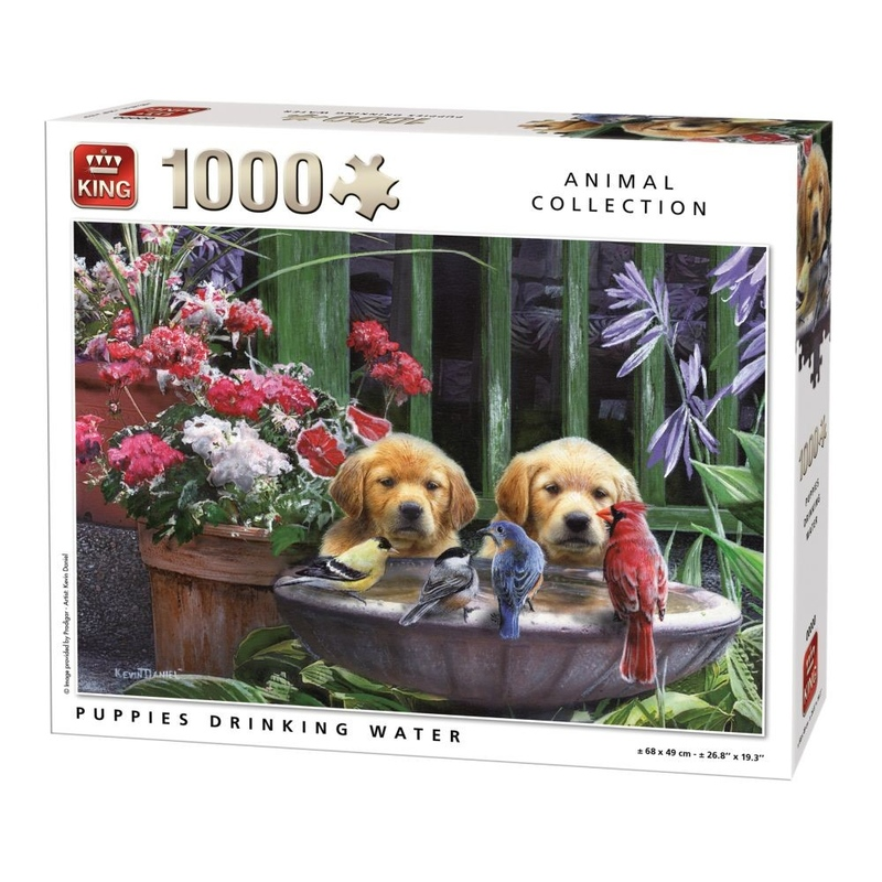 Puzzle 1000 piese Puppies Drinking Water