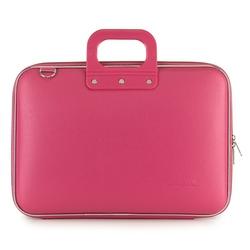Geanta lux business laptop 15 in Clasic vinil Bombata-Roz inchis