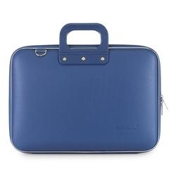 Geanta lux business laptop 15.6 in Clasic vinil Bombata-Albastru cobalt