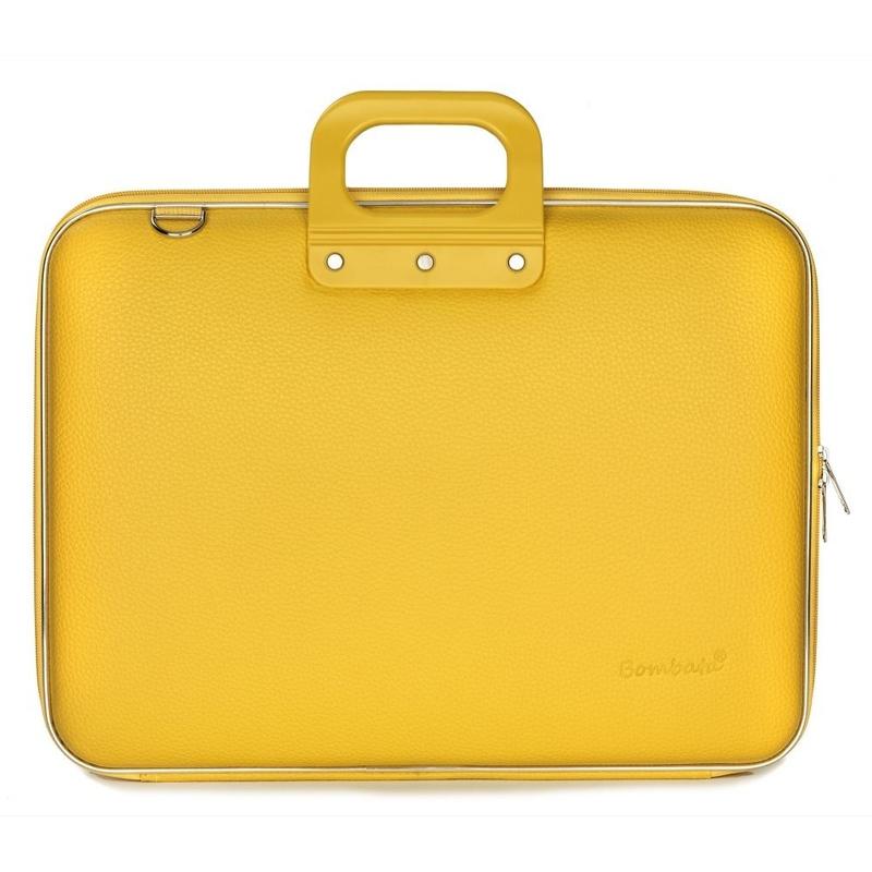 "Geanta lux business/laptop 17"" Maxi Bombata-Mustar"