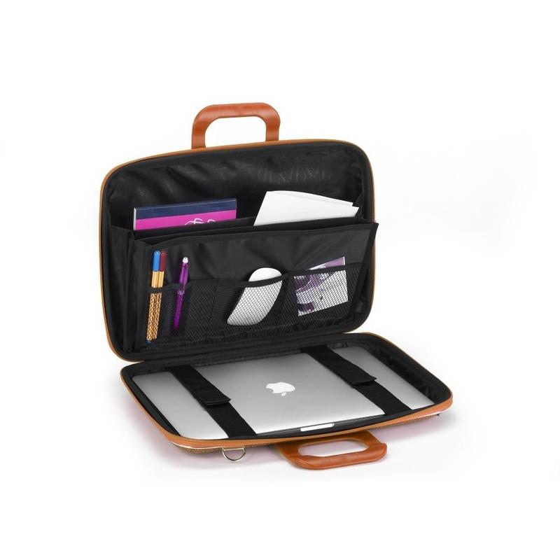 "Geanta lux business/laptop 13"" Cocco Bombata-Rosu aprins interior"
