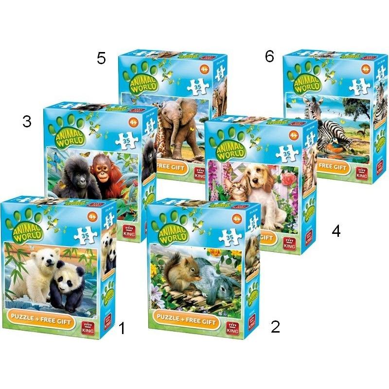 Puzzle 35 piese - Lumea animala (6 modele)