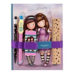 Gorjuss Cityscape - Set rechizite cu carnet- Friends Walk Together