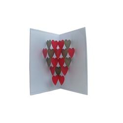 Felicitare 3D ORIGAMI - Xmas hearts