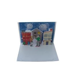 Felicitare 3D - CHRISTMAS Couple Celebrating. Felicitare 3D tip Origami – Cuplu de Craciun. Pentru cei dragi.