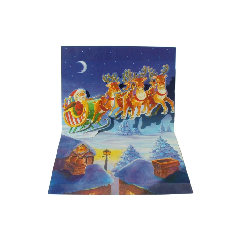 "Felicitare iarna Popsies - ""Santa over roof"""