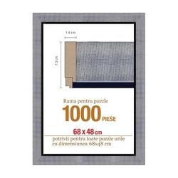 Rama puzzle 1000 p - argintie striata - grosime 7.3 h 1.8- 68 x 48 cm