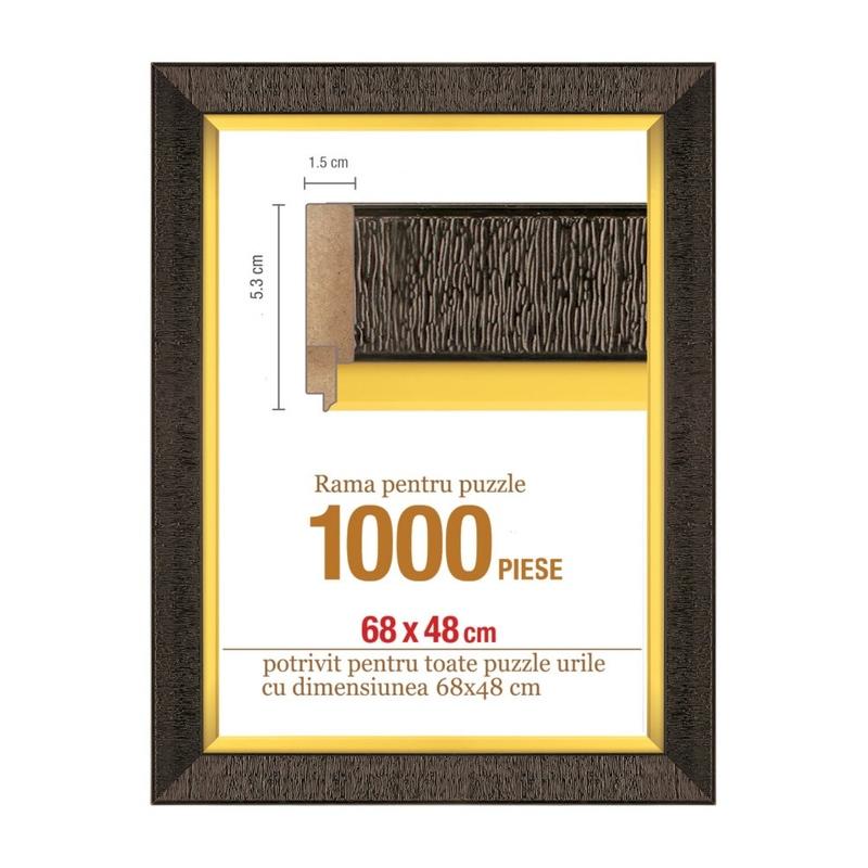 Rama puzzle 1000 p - maron auriu - grosime 5.3 h 1.5- 68 x 48 cm