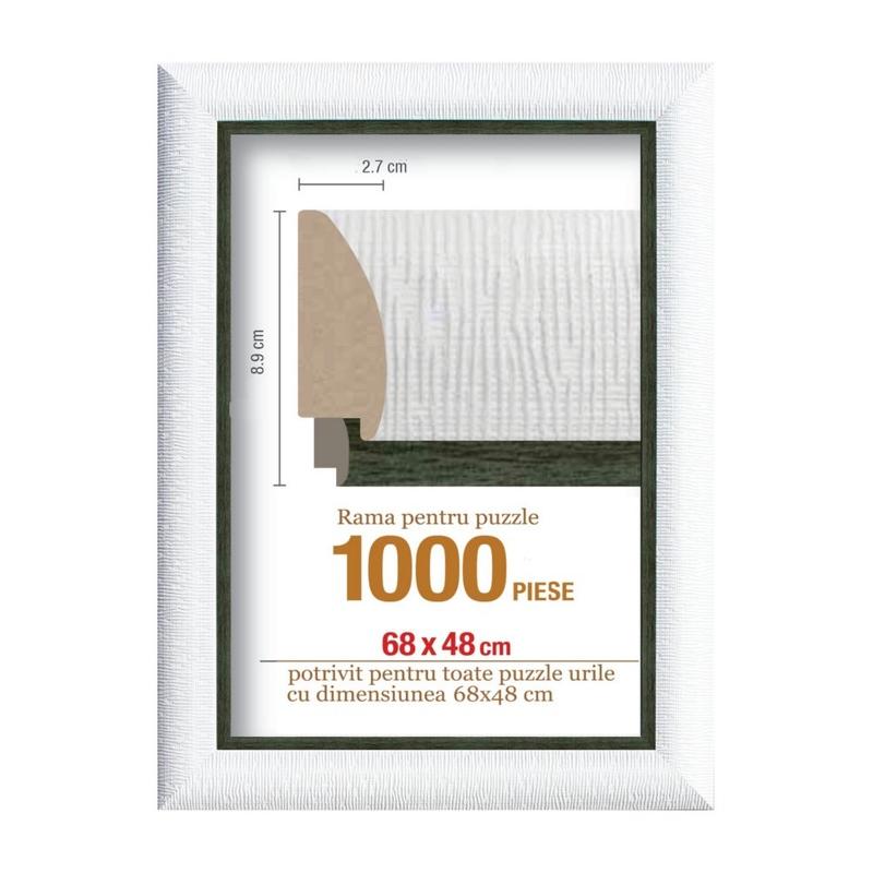 Rama puzzle 1000 p - alb striat -negru- grosime 8.9 h 2.7- 68 x 48 cm