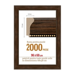 Rama puzzle 2000 p - maron lemn - groasa 7.3xh2.9- 96 x 68 cm