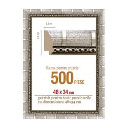 Rama puzzle 500 p - argintiu cu dungi - groasa 5.5xh2.3- 48 x 34 cm
