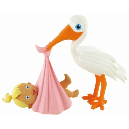 Figurina-Moments-Stork with Baby Girl