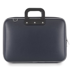 Geanta lux business laptop 15.6 in Clasic vinil Bombata-Bleumarin