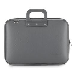 Geanta lux business laptop 15.6 in Clasic vinil Bombata-Gri inchis