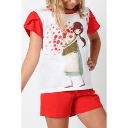 Pijama copii cu tricou Kori Kumi Pretty as a Flower, scurte