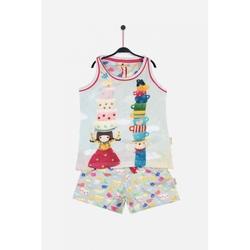 Pijama copii cu maiou Kori Kumi Tea Party, scurte
