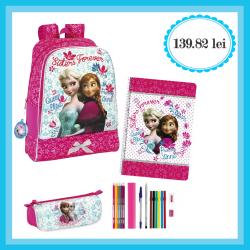 Ghiozdan echipat pentru clasele 1-4 Anna si Elsa