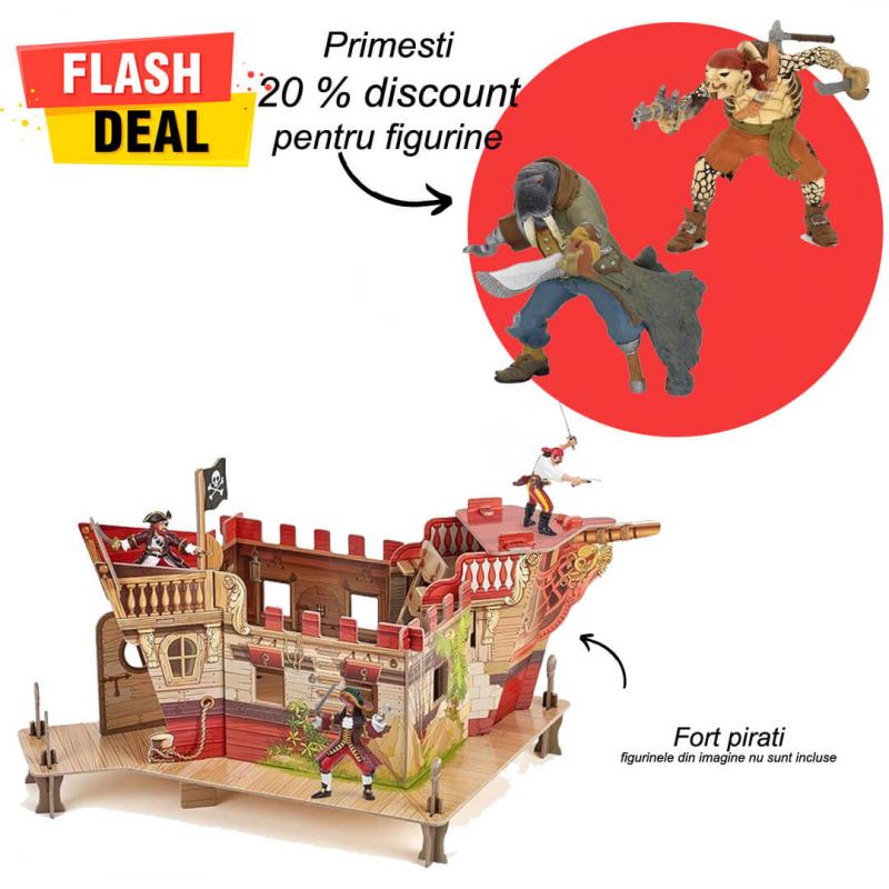 Pachet figurine Fort pirati si 2 figurine Papo