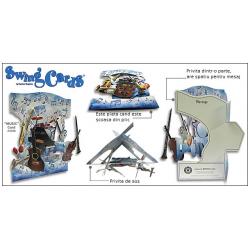 Felicitare de iarna 3D Swing Cards - Pinguini