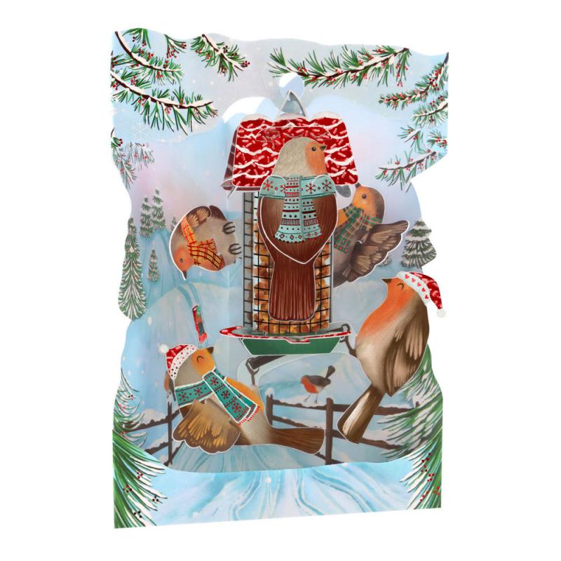 Felicitare 3D Swing Cards de iarna – Vrabiile Craciunului