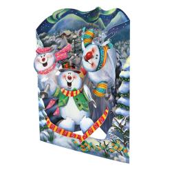 Felicitare 3D Swing Cards de iarna – Oameni de zapada